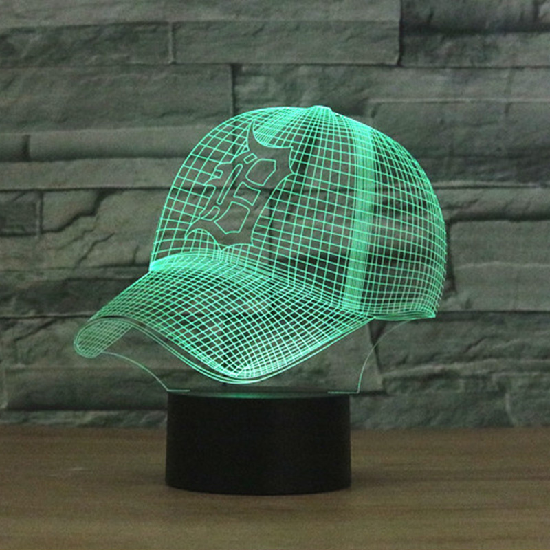 NFL Detroit Tigers Football Helmet Fans 3D illusion LED Night Light 7 Colors Creative Touch Switch USB Powered Desk Table Lamp
