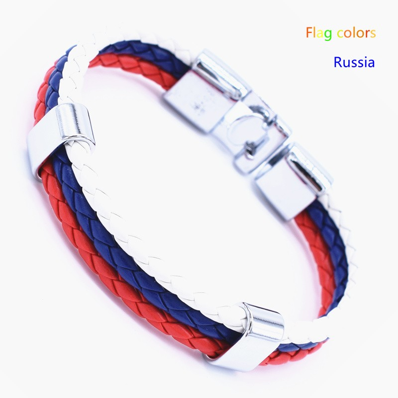 Wholesale Length 21cm 3 Strands Rope Braided Leather Chain & Link Bracelet Men Wristband National Flags Color Sports Bracelets 11