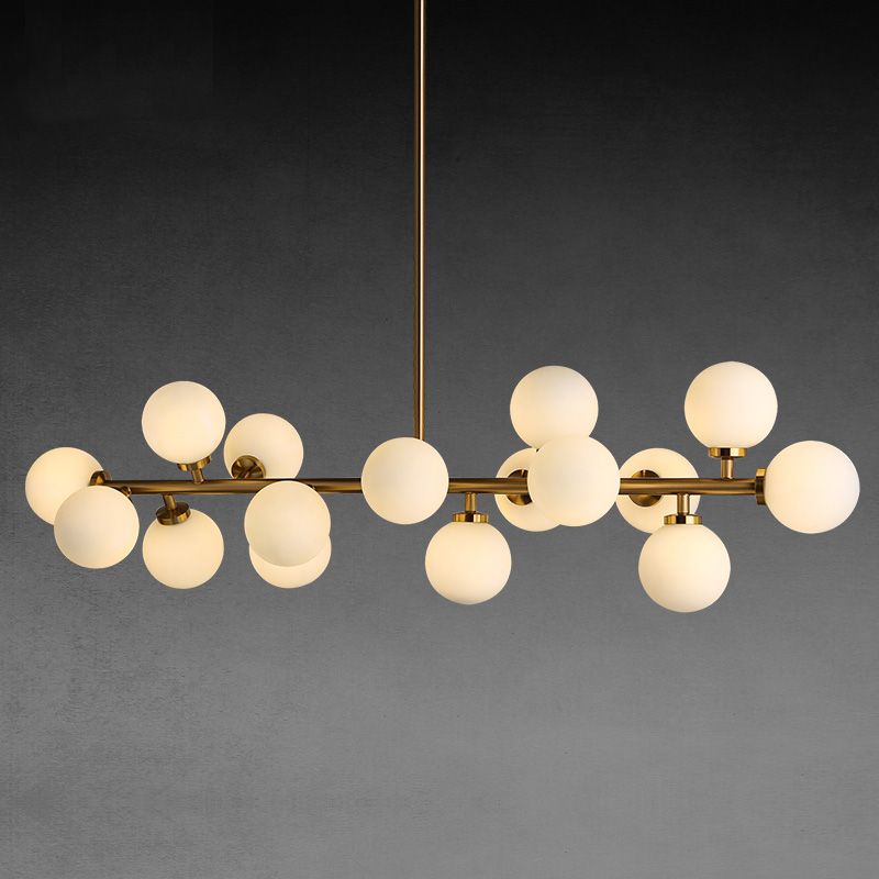 Simple living room villa clothing trend creative personality pendant light molecule long pipe glass ball Beanstalk