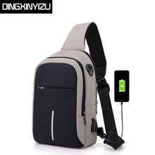 DINGXINYIZU Men Chest Bags USB Charging Waterproof Oxford Crossbody Small Sling Single Shoulder Travel Pack Male
