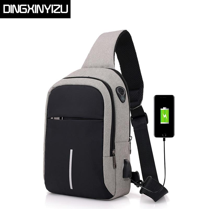 DINGXINYIZU hommes poitrine sacs USB charge imperméable Oxford Crossbody sacs petite fronde unique épaule sacs voyage poitrine Pack mâle