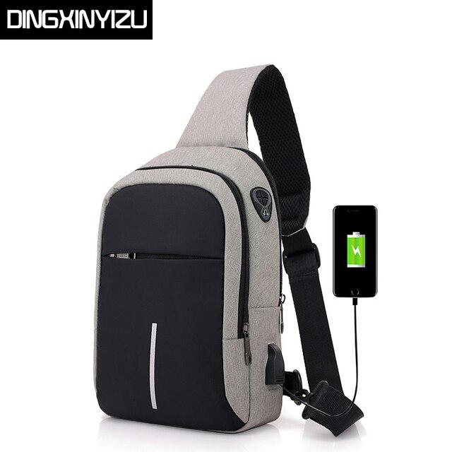 Dingxinyizu Для мужчин сумки груди зарядка через usb Водонепроницаемый Оксфорд Crossbody сумки небольшой слинг одного плеча сумки дорожные груди пакет мужской