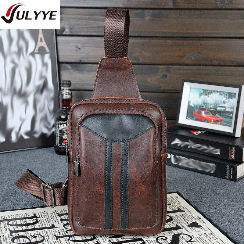 YULYYE Men Messenger Bags Leather Chest Pack Casual Mens Travel Shoulder Bag Bag Multifunction Rucksack Shoulder Strap BackBag