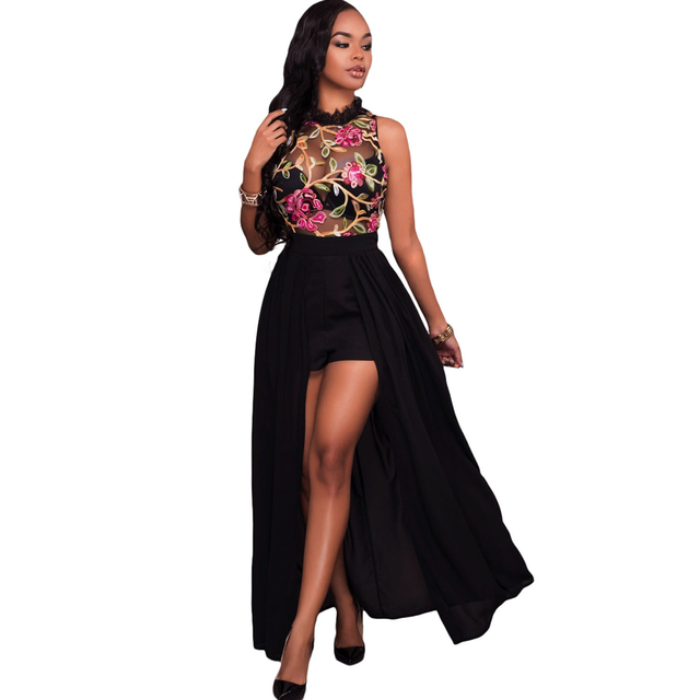 5c6cb98cea19 Sexy Women Long Jumpsuit Sheer Mesh Floral Embroidery Sleeveless Maxi Skirt  Short Chiffon Overall Romper Elegant Casual Playsuit