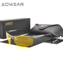 AOWEAR, настоящие алюминиевые магниевые очки для водителей на День и ночь, поляризованные желтые солнцезащитные очки для ночного видения, мужские спортивные очки, солнцезащитные очки 53