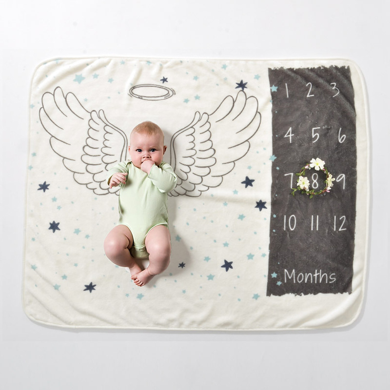 Infant Baby Milestone Blanket Photo Photography Prop Blankets Backdrop Cloth Calendar Boy Girl Photo Accessories 70*102CM 2