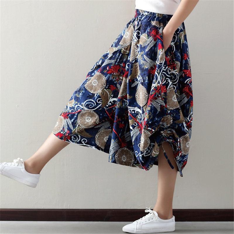 Bohp Capri Sarouel Cropped Harem Pants High Quality Cotton Linen Women Loose Wide Leg Pants Harajuku Female Harem Pants