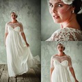Vintage Plus Size Wedding Dresses With Sleeves Empire Waist Sheer Lace Maternity Wedding Dress Beach Wedding Gowns WY-04