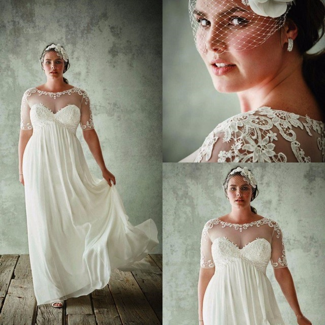Vintage Plus Size Wedding Dresses With Sleeves Empire Waist Sheer