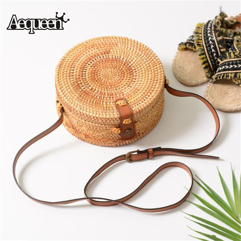 AEQUEEN Round Straw Bag Women Crossbody Bags Summer Bohemian Rattan Beach Messenger Bags Circular Knitting Shoulder Handbag 2018 2018 new fashion circular beach bag summer women shoulder bags round shape straw bag boho vintage retro beach handbag