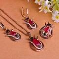 Tulipa Turcos Do Vintage Conjuntos de Jóias Colar & Brincos & Anel de Resina de Luxo Cristal Vermelho Conjuntos de jóias Bijuterias Mulheres Colar Azul