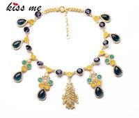 New Styles 2017 Statement Fashion Elegant Teardrop Pendant Yellow Necklace For Women