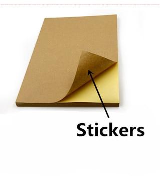 Free shipping 50pcs/lot A4 Brown kraft paper stickers self adhesive handwriting inkjet laser printer white A4 printing stickers 1