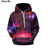 3d Printing Sweatshirts Hooded Men Women Hoodies With Hat Galaxy Space Star Autumn Winter Loose Thin