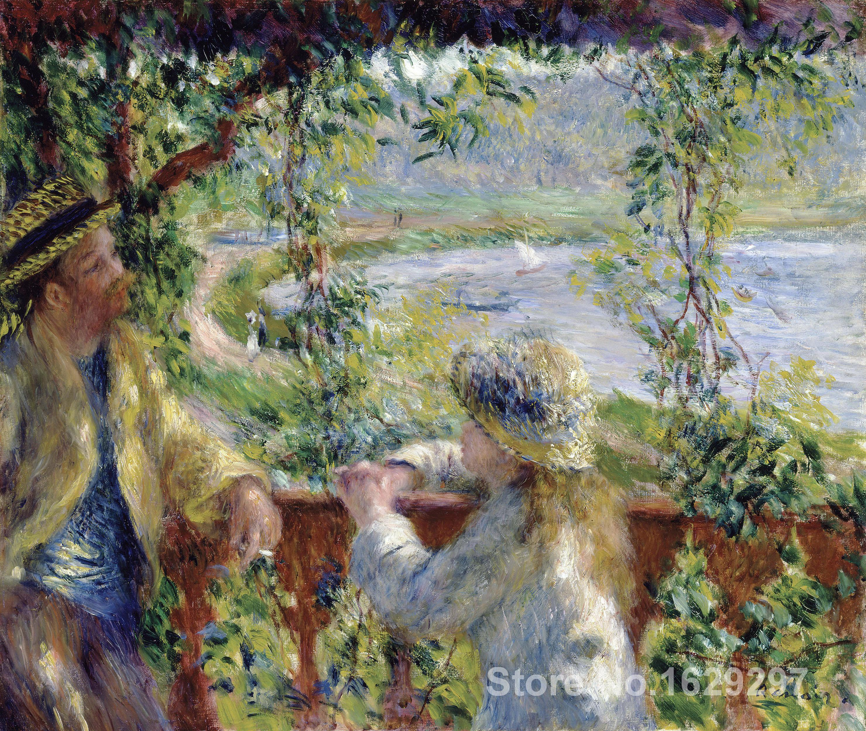 handmade oil painting By the Water (Near the Lake) Pierre Auguste Renoir art Reproduction High qualityhandmade oil painting By the Water (Near the Lake) Pierre Auguste Renoir art Reproduction High quality
