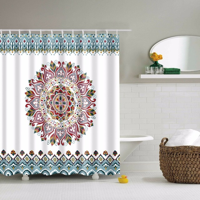LFH 180X180CM Mandala Bohemian Shower Curtain Romantic Bathroom Curtains Fabric Set With Hooks Hippie Boho Decorations