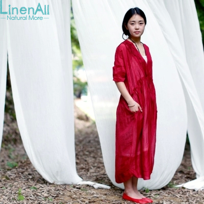 LinenAll clothing hand embroidered women s vintage linen silk one piece dress female full dress four