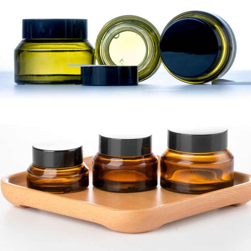 1 adet 15g/30g/50g boş Amber yeşil cam doldurulabilir şişeler makyaj kavanoz Pot seyahat yüz kremi losyon şişeler kozmetik kapları