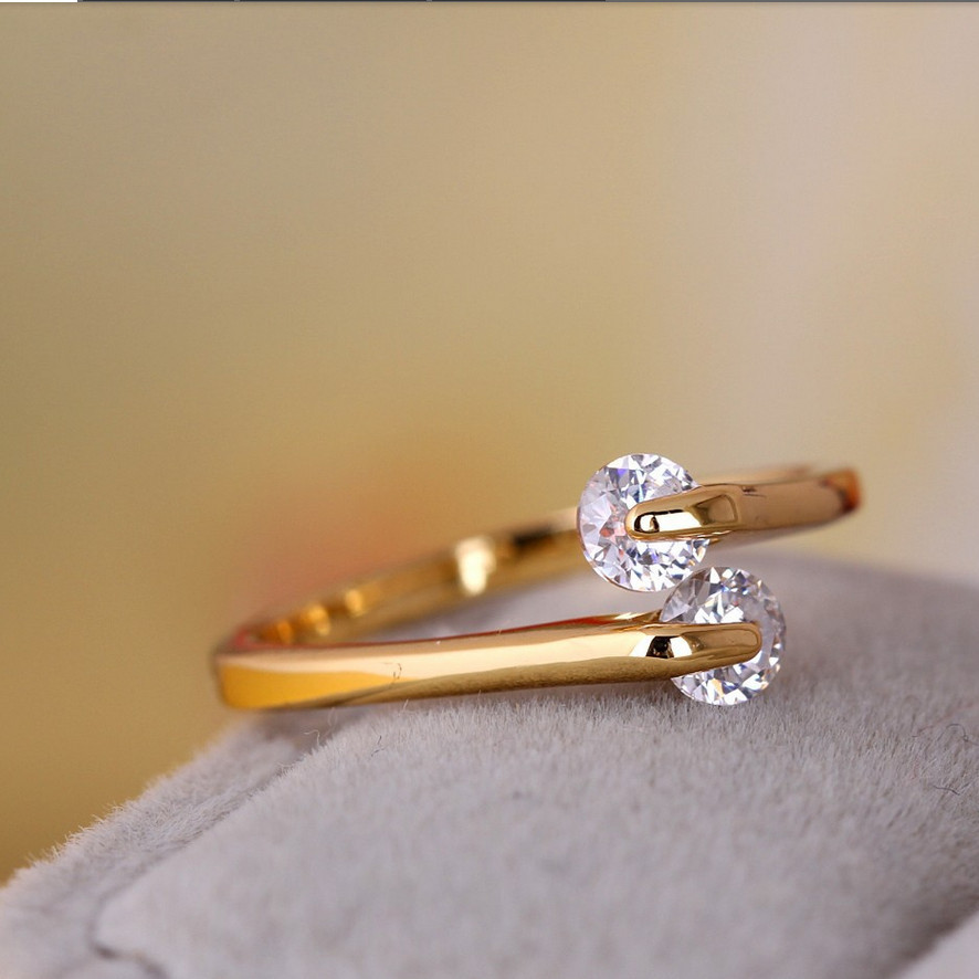 Fashion Gold Color Opening CZ Stone Engagement Ring For Women ...