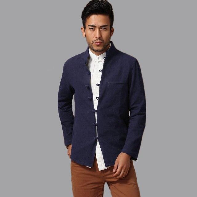 Navy Blue Traditional Chinese Handmade Men Cotton Linen Kung Fu Jacket Coat Size S M L XL XXL XXXL hombre chaqueta abrigo Mim14A