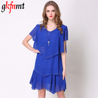 Gkfnmt Summer Dress 2018 Blue Party Layered Dresses Women Dress Tiered Chiffon Robe Fashion Vestido De
