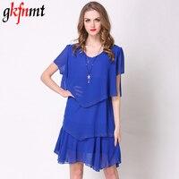 Gkfnmt Summer Dress 2018 Blue Party Layered Dresses Women Dress Tiered Chiffon Robe Fashion Vestido De