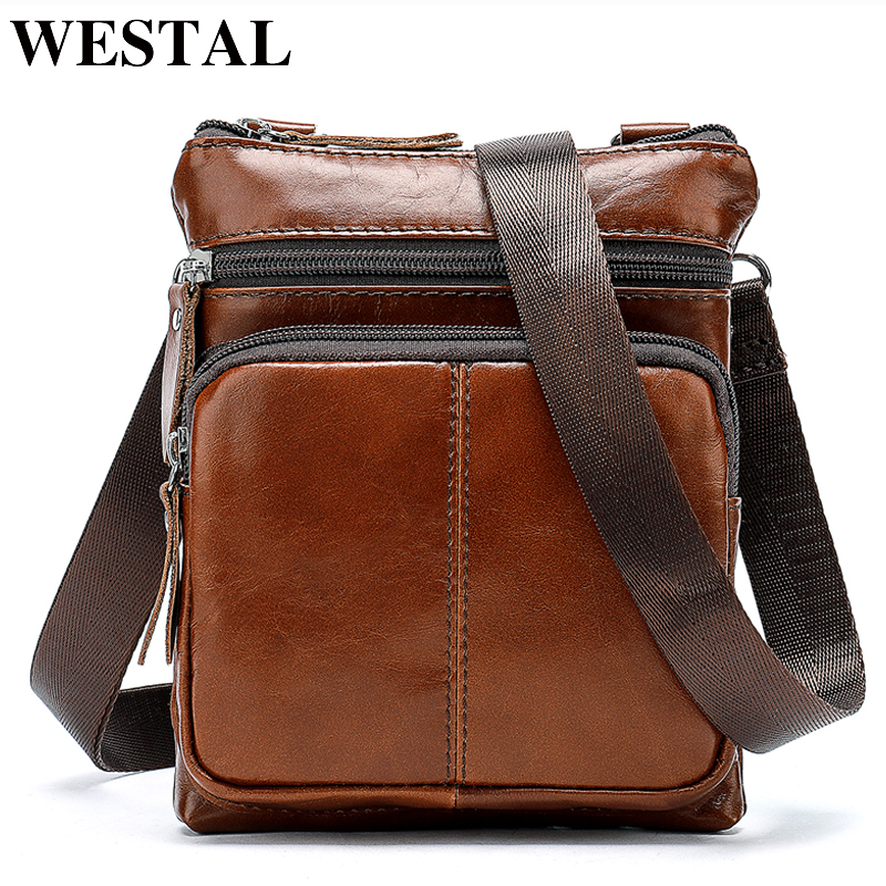 WESTAL Small Messenger Bags Men Women Bag Genuine Leather Designer Crossbody Bag Shoulder Fashion Flap Casual Zipper 701 2017 summer metal ring women s messenger bags solid scrub leather women shoulder bag small flap bag casual girl crossbody bags