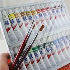 Image 2 - ذاكرة العلامة التجارية النفط الألوان الدهانات غرامة اللوحة اللوازم 24 ألوان 12 مللي أنبوب عرض فرش مجاناً