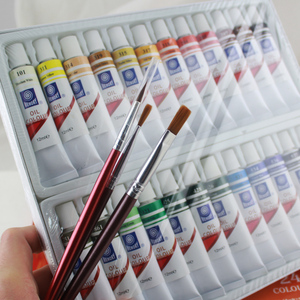 Image 2 - Memory brand oil colors paints fine painting supplies 24 colours 12ml tube offer brushes for free