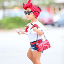 Newborn Baby Girls Kids 3D embroidery Crop Top+Ripped Destoyed  Denim Shorts Waistaband Summer Outfit Clothes Set 1-6T