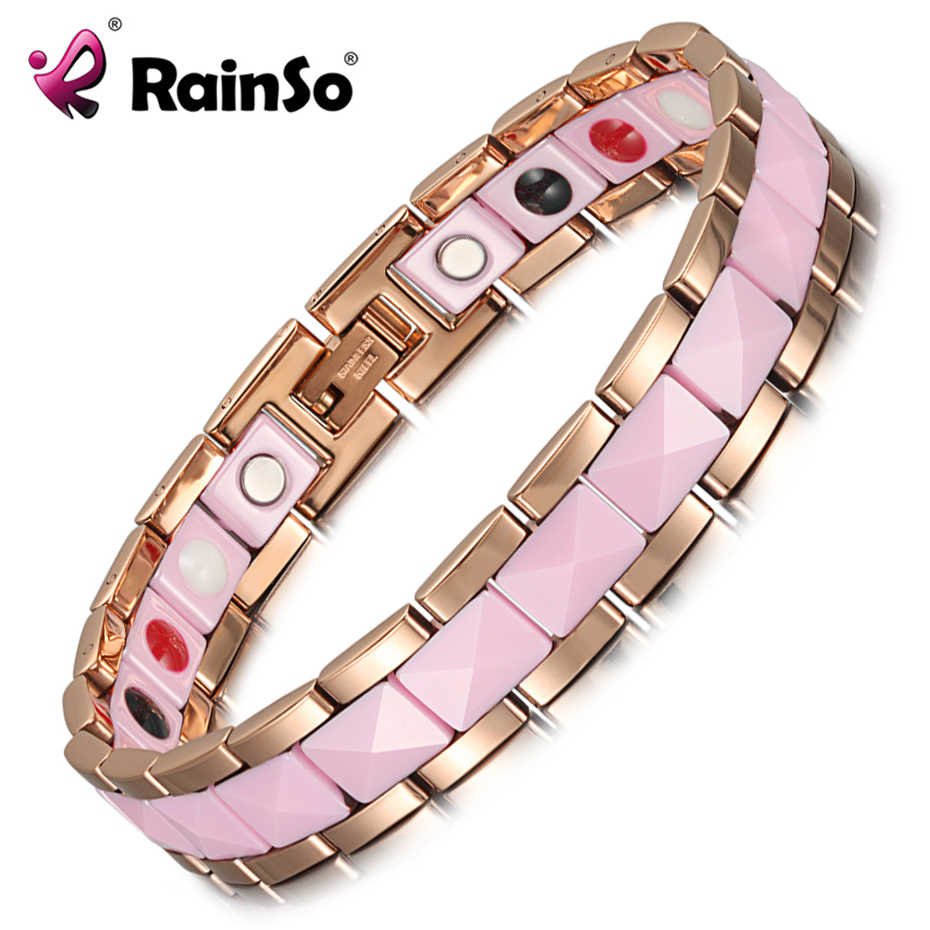 Rainso Bracelet Female Health Fashion Pink Ceramics Magnetic Therapy Ladies Charm Bracelets & Bangle Germanium Jewelry for Women
