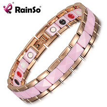 Rainso Bracelet Female Health Fashion Pink Ceramics Magnetic Therapy Ladies Charm Bracelets & Bangle Germanium Jewelry for Women(China)