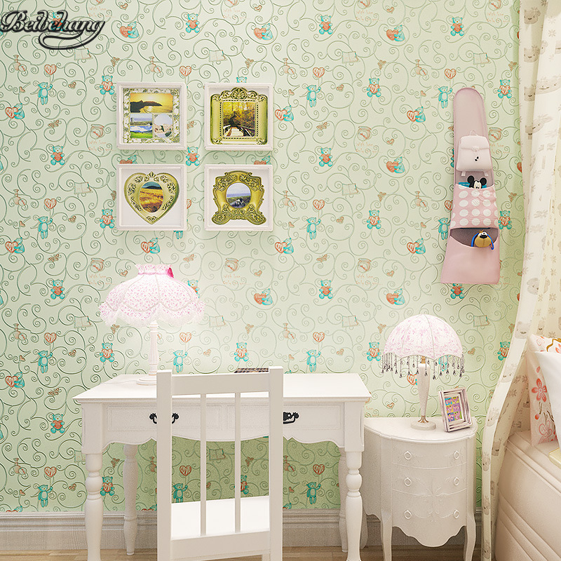 beibehang 3D Stereo Pastel Pink Green Wallpapers Boys and Girls Princess Room Bear Hearts Kids Room Cartoon Wallpapers beaba solo pastel pink