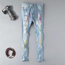 2019 Skinng men jeans sky blue hole slim fit male jeans ripped distressed printed homme denim trousers plus size 38 patchwork