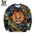 Горячий стиль Мужчины 3d толстовки печати звезды Лев животных вскользь толстовки с длинным рукавом пуловеры