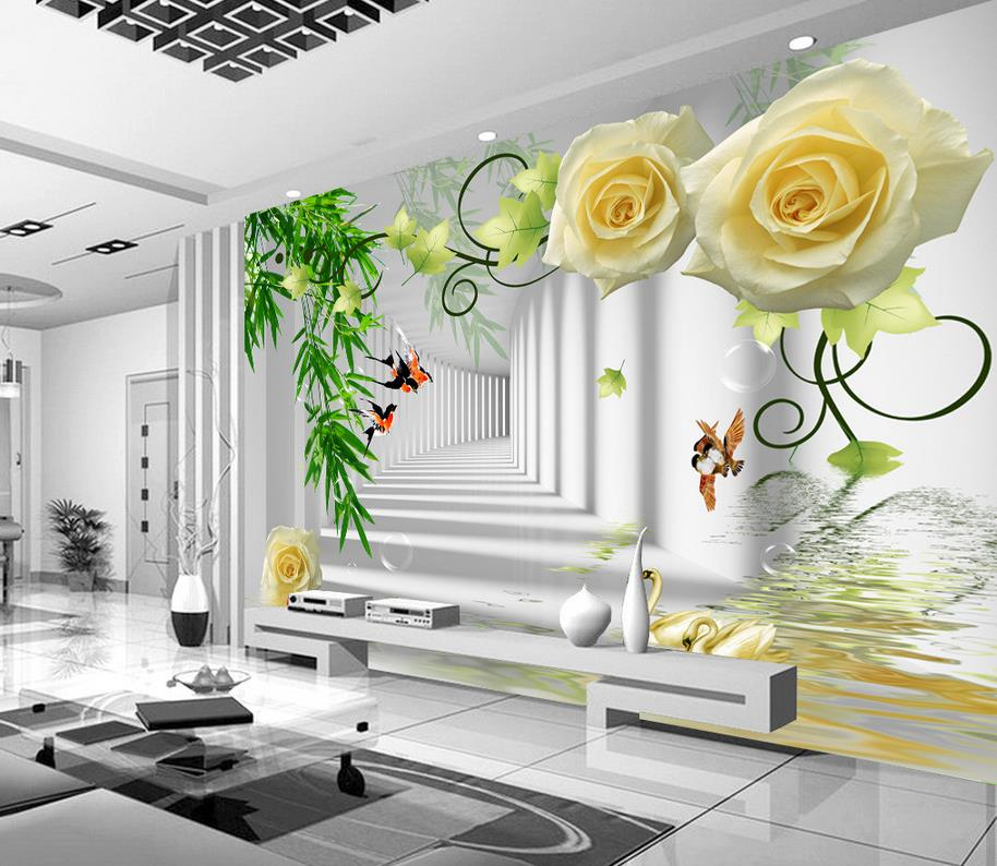 Rose Fashion TV wall painting bamboo 3d wallpaper flower rose 3d