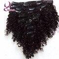 7А Необработанные клип в естественных курчавый бразильский наращивание волос 1B клип на волосы 7 шт. целую голову странный вьющиеся зажим для волос ins