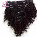 7A Unprocessed clip in natural curly brazilian hair extensions 1B clip on hair 7 pieces full head kinky curly hair clip ins