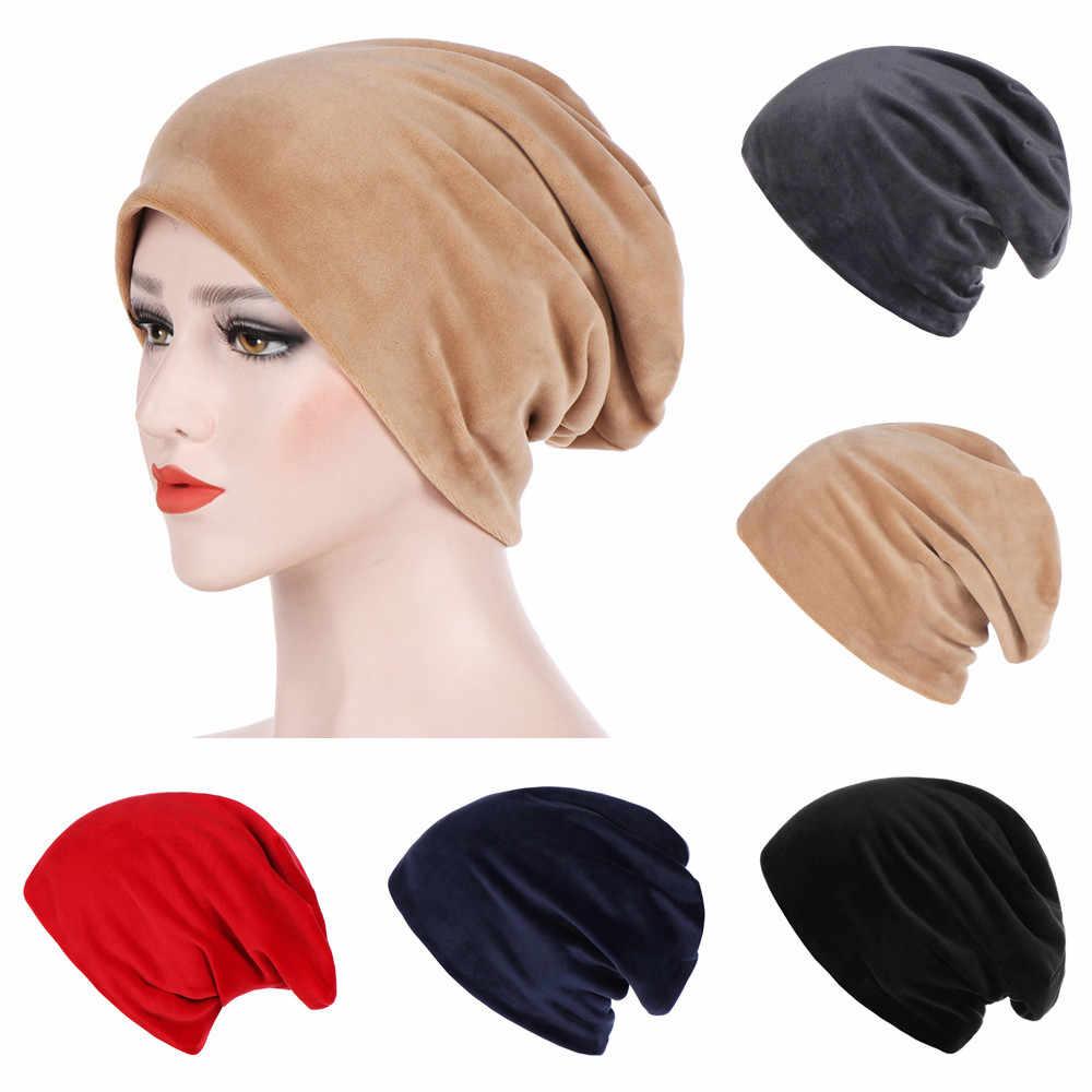 019578b01a3 Feitong Women Solid India Hat Muslim Ruffle Cancer Chemo Beanie Scarf  Turban Wrap Cap Autumn Winter