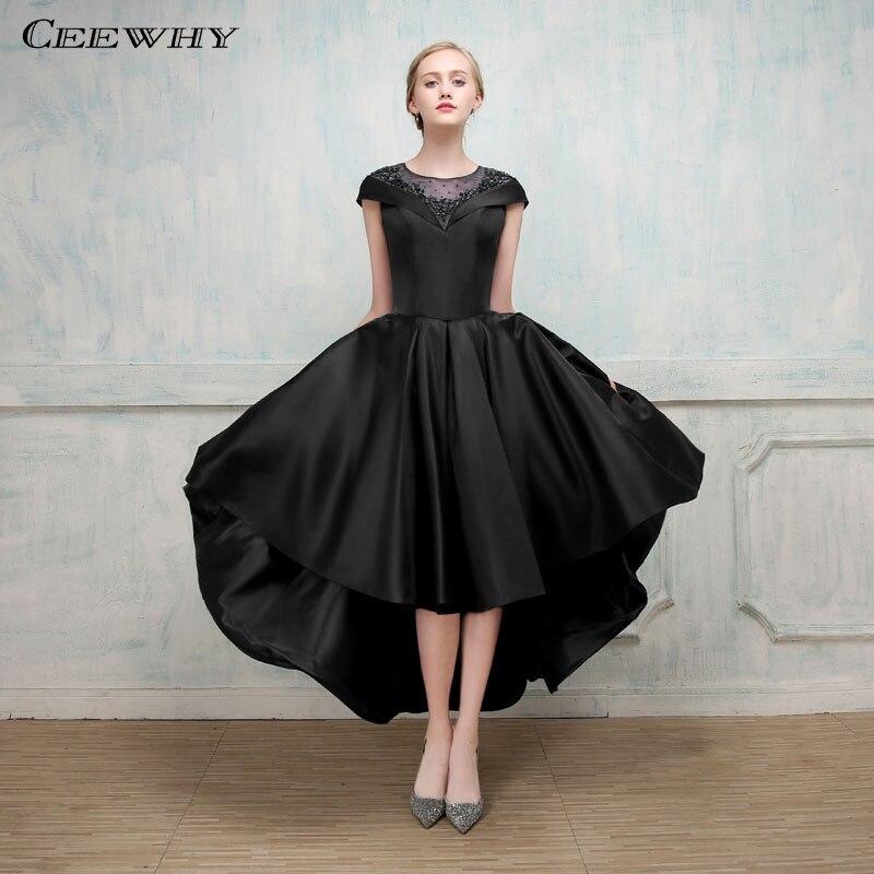 0a9d7b4a77 CEEWHY High Low suknie wieczorowe zroszony granatowy Prom Party elegancki  formalne sukienka z krótkim rękawem suknia wieczorowa Robe De Soiree w  CEEWHY ...