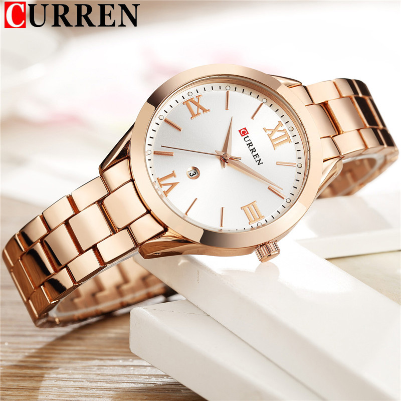 CURREN Women Watches Top Brand Luxury Gold Ladies Watch Stainless Steel Band Classic Bracelet Female Clock Relogio Feminino 9007