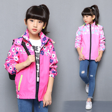 Spring Casual Windproof Breathable Print Girls Jackets Child Coat Sporty Children Outerwear For 3 14 Years Old
