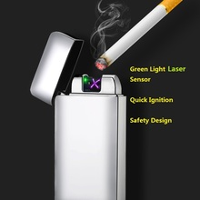 Green Laser USB Rechargeable Electric Lighter Quick Ignite Cigarette Lighter 3D Print Dual Arc Plasma Lighters Gadgets for Men