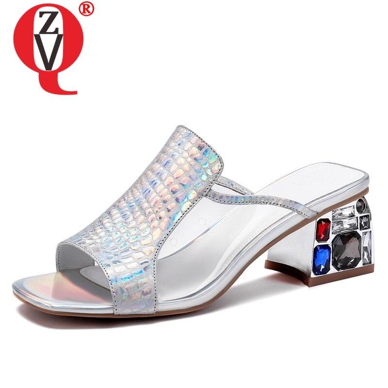 ZVQ sandali della donna di estate di nuovo modo sexy di cristallo del cuoio genuino della donna pantofole al di fuori di alta hoof tacchi open toe scarpe da donnaZVQ sandali della donna di estate di nuovo modo sexy di cristallo del cuoio genuino della donna pantofole al di fuori di alta hoof tacchi open toe scarpe da donna