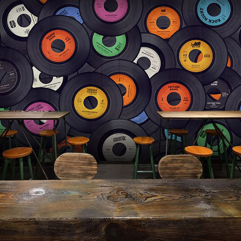 Custom Mural Wallpaper Modern Fashion Album Collage Wallpaper Bar Cafe KTV Living Room Backdrop Mural Wall Papers Home Decor