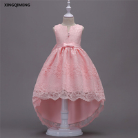 In Stock Full Lace High Low Flower Girl Dresses 3 15Y Chic First Holy Communion Dresses for Girls Pink Cheap Pageant Gown