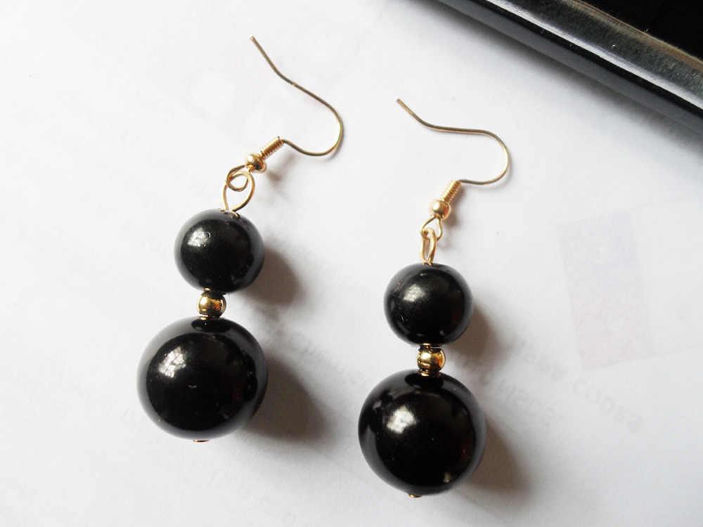 Nhà máy trang sức hot và giá rẻ giá New mô hình 14 mét Black pearl hạt bông tai cho vàng-màu chất lượng tốt bán buôn