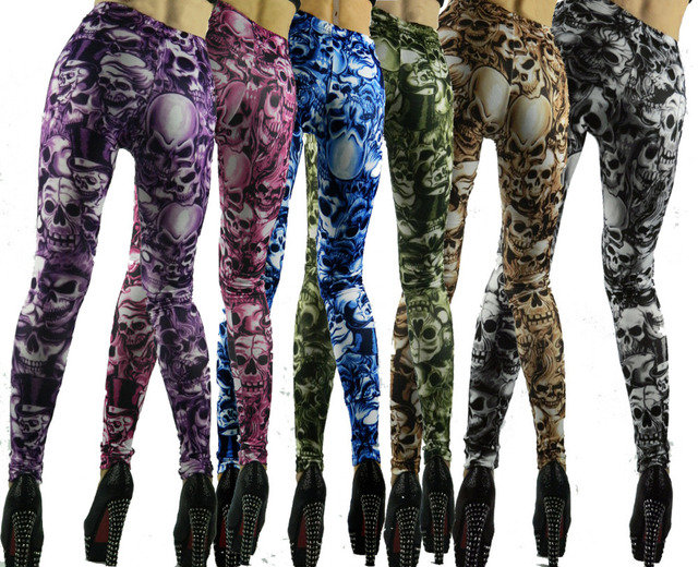 Limit Promotion 6 Color Europe Newest Female Novelty Punk Skeleton Print  Feet Pants Flexible Skinny Trousers Sexy Clubwear
