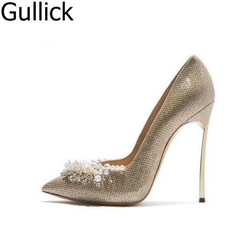 Women Gold Silver Leather White Pearls Decoration Pumps Summer Fashion Pointed Toe Slip On Dress Shoes High Thin Heel Shoes 2018 women yellow high heel pumps pointed toe metal heels wedding heel dress shoes high quality slip on blade heel shoes