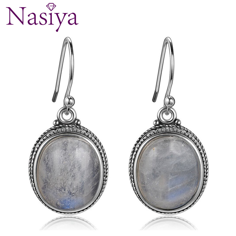 Nasiya Vintage Oval Natural Moonstone Drop Earrings For Women Girls 925 Sterling Silver Jewelry Party Engagement Birthday Gift